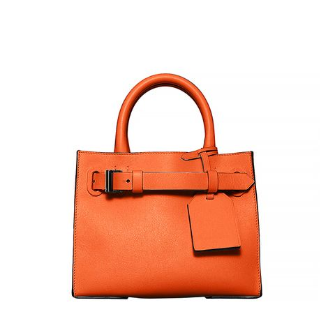 RK40S Small Belted Leather Tote Bag, Orange
