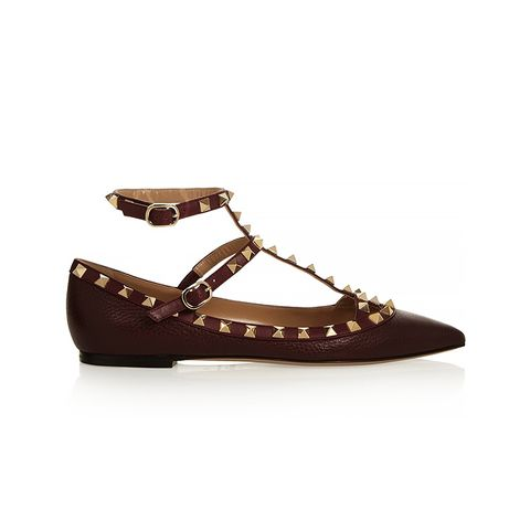 Rockstud Textured Leather Point Toe Flats