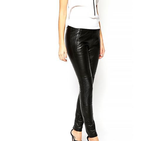Devyn Leather Legging with Ribbing