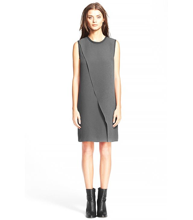 Vince Laser Cut Asymmetrical Shift Dress
