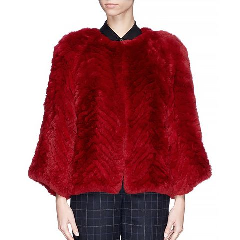 Jagger Chevron Rabbit Fur Jacket