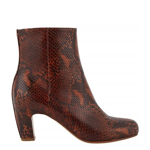 Snake-Stamped Ankle Boots