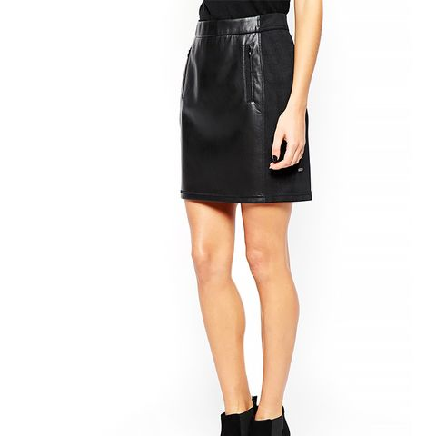 Mini Skirt in Leather Look with Zips