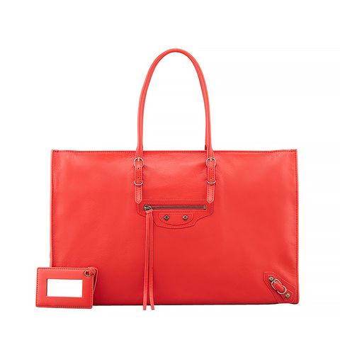 Papier Office Zip Leather Tote Bag, Rouge