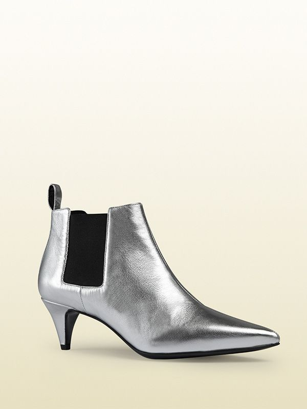Gucci Silver Metallic Ankle Boots