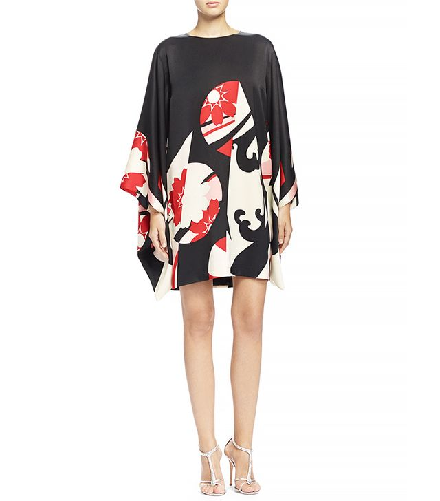 Alexander McQueen Abstract Floral-Print Kimono-Sleeve Dress