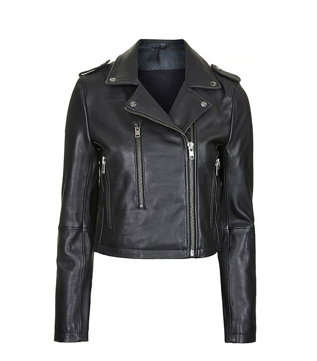 Topshop Neat-Fit Leather Biker Jacket