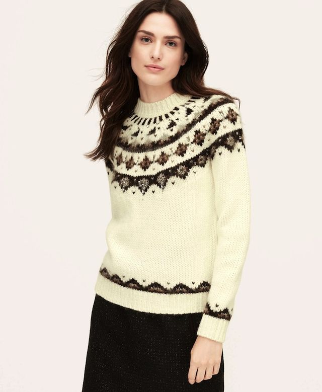 Loft Embellished Fair Isle Sweater