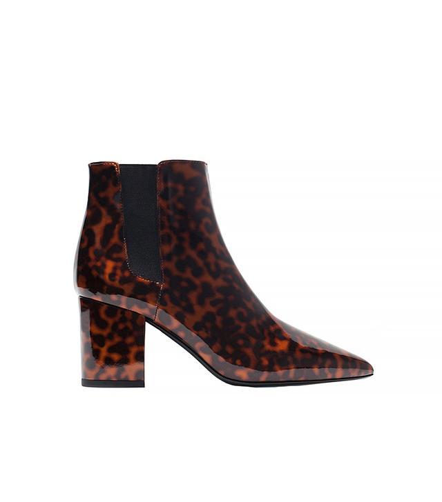 Zara Shiny Leopard High-Heel Boots