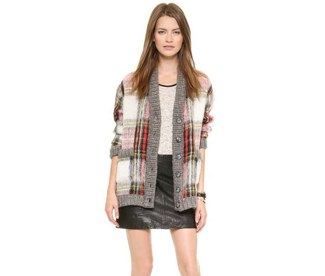 Sea Oversized Plaid Cardigan