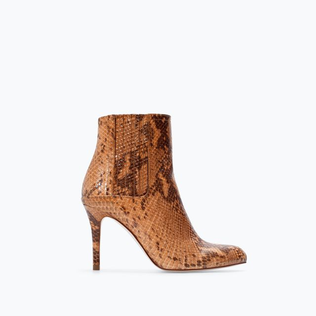 Zara High Heeled Printed Leather Booties