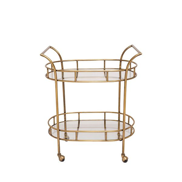 One Kings Lane Antique Brass Deskey Bar Cart