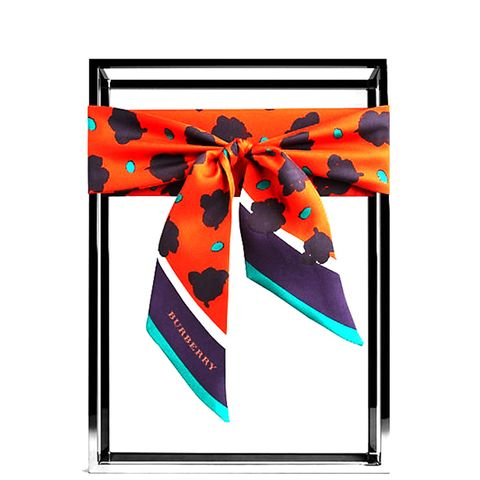 Graphic Floral Print Silk Slim Scarf