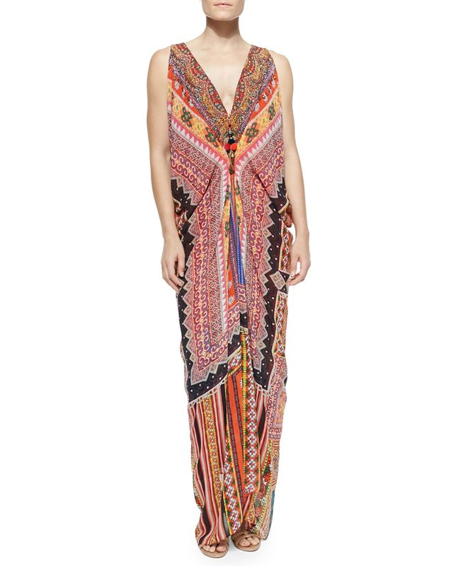 Camilla Draped Printed Dress W/ Zip Front