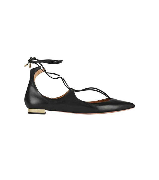 Aquazurra Christy Leather Pointed-Toe Flats