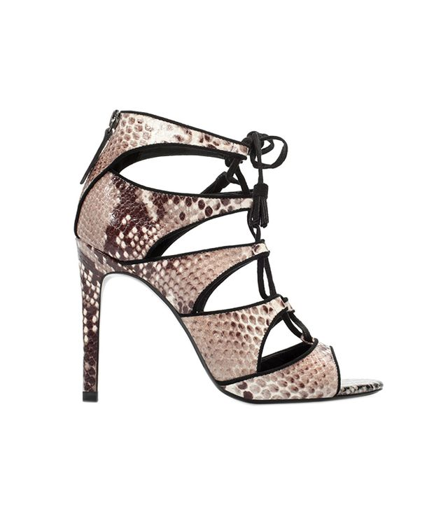 Zara High Heel Snake Print Leather Sandals
