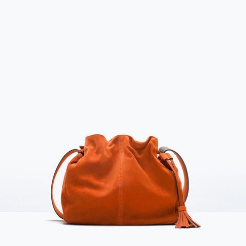 Suede Bucket Bag With Tassel