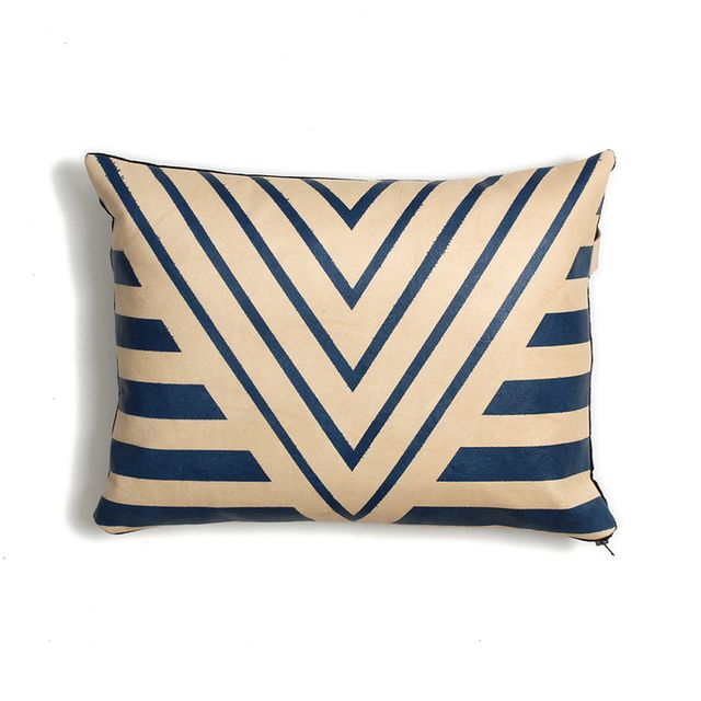 AVO Painted Plains Blue Geometric Leather Pillow