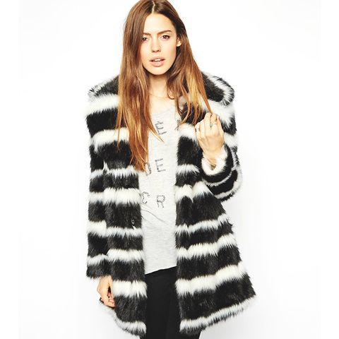 Faux Fur Coat in Mono Stripe