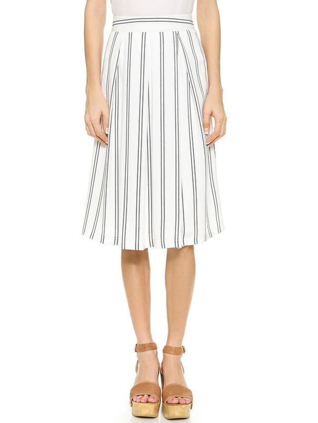 J.O.A. Striped Pleat Skirt