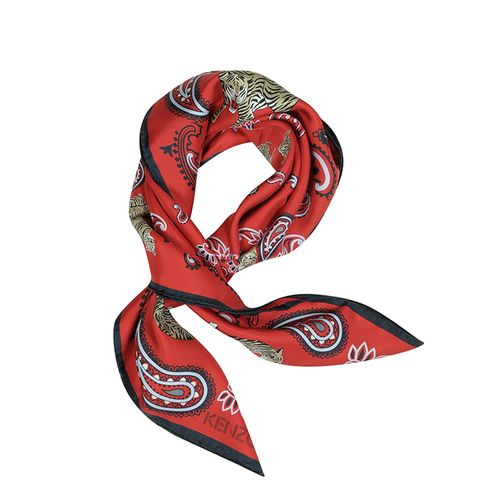 Pure Silk Tiger and Paisley Print Bandanna