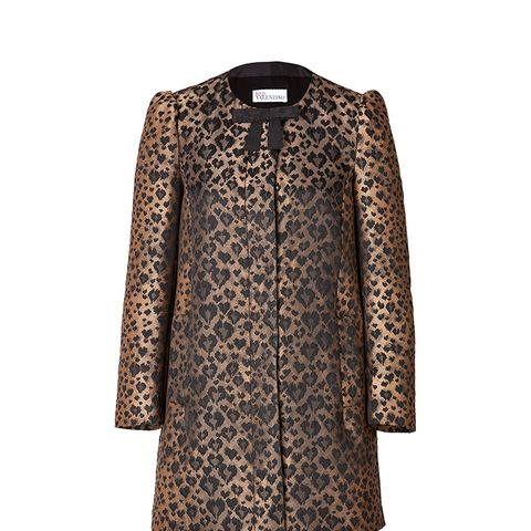 Jacquard Leopard Print Coat with Bow