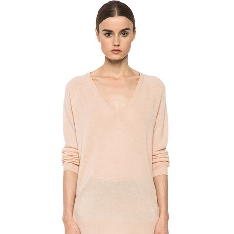 Asher Cashmere V Neck in New Nude