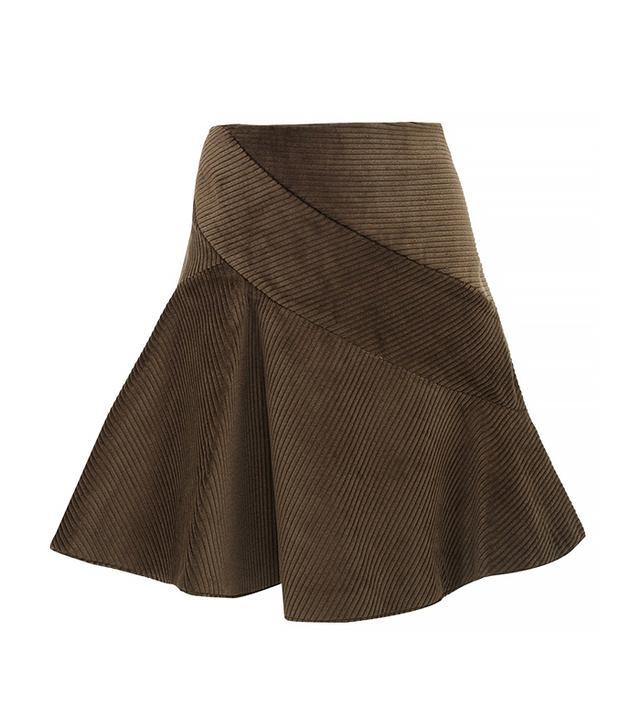 J.W. Anderson Khaki Corduroy Spiral Mini Skirt