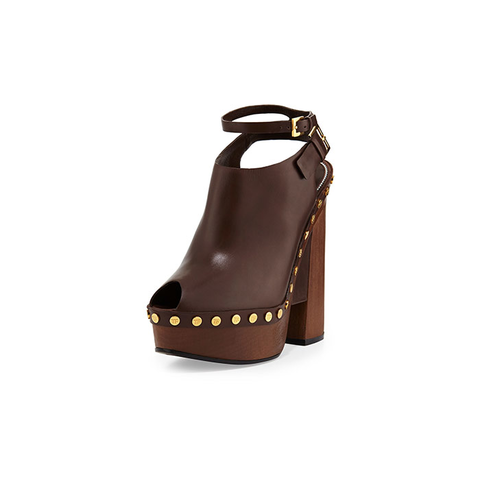 Tom Ford Platform Clog Sandals in Caramel
