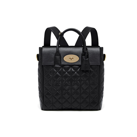 Mulberry Large Cara Delevingne Bag in Black Quilted Lamb Nappa