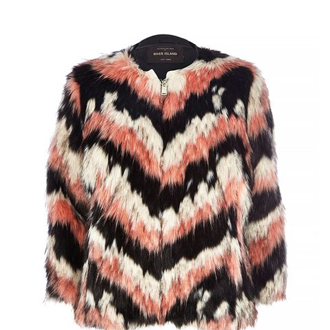 Pink Striped Faux Fur Coat