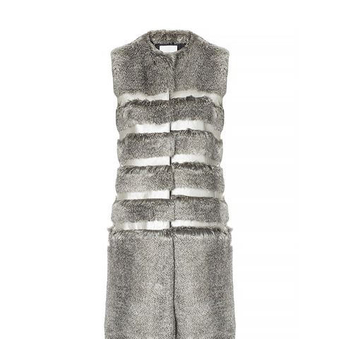 Grey Faux Fur Stripe Gilet