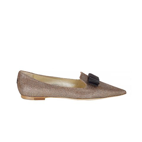 Macaroon Lamé Glitter Pointy Toe Flats with Bow