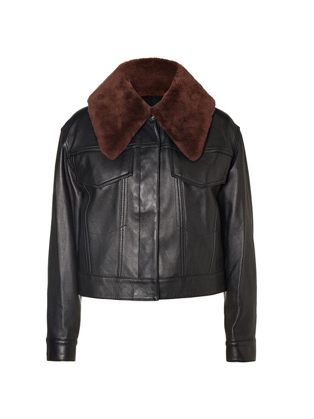 3.1 Phillip Lim Leather Bomber with Shearling Collar