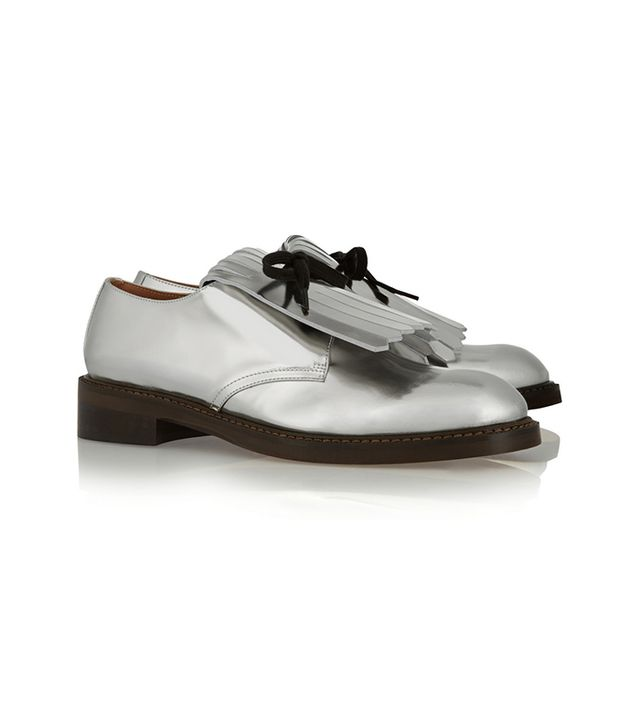 Marni Fringed Mirrored-Leather Brogues