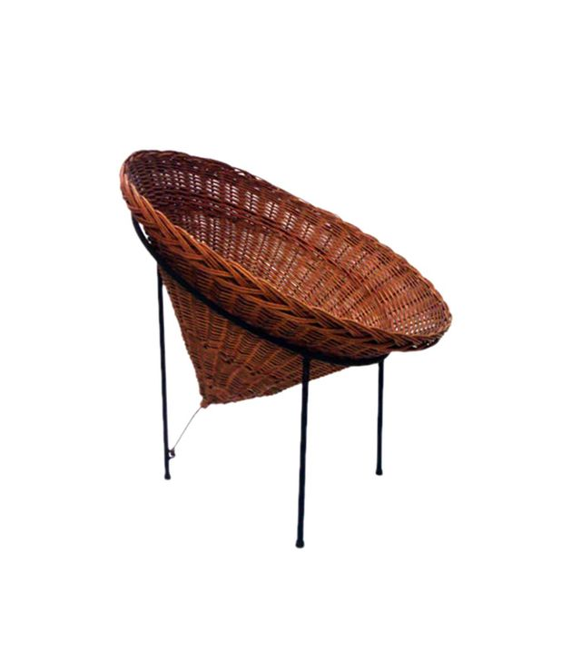 Dual Modernist Woven Wicker Cone Basket Lounge Chair