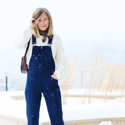 Overalls + Knit Sweater + Printed Scarf