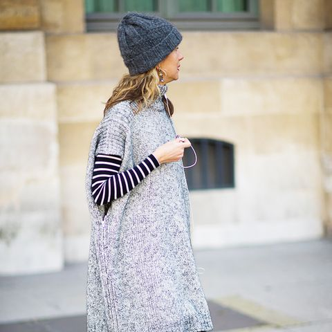 Knit Beanie + Long-Sleeved Striped Top + Sleeveless Knit Dress