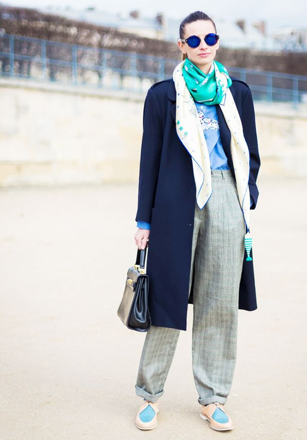 Tailored Outerwear + Button-Down + Oversized Silk Scarf