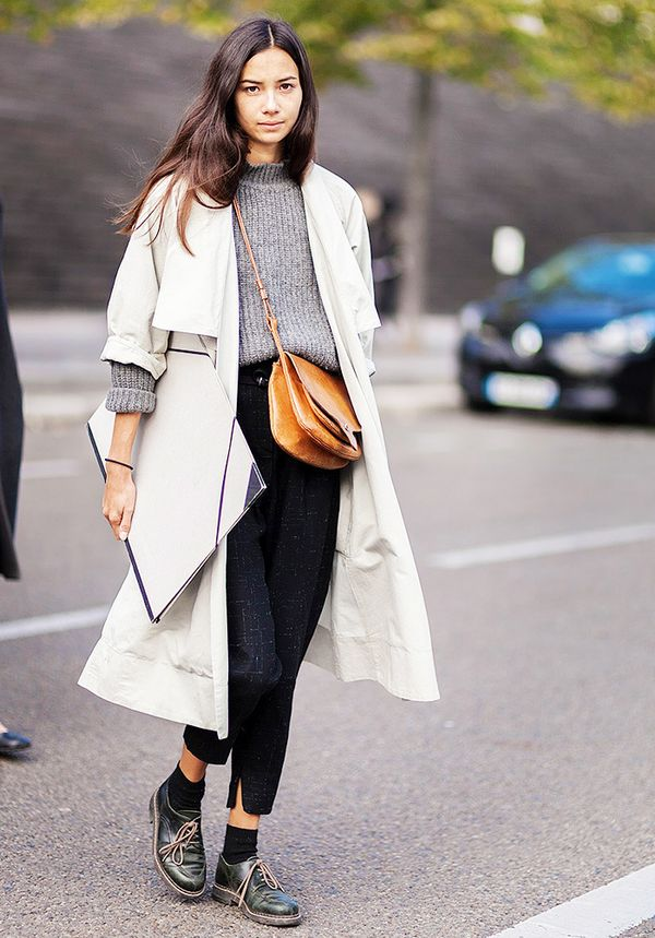 Trench Coat + Chunky Knit Sweater + Socks + Lace-Up Loafers