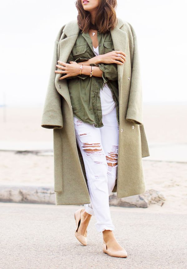 Long Coat + T-Shirt + Lightweight Military-Inspired Jacket