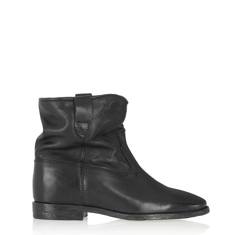 Cluster Leather Concealed Wedge Ankle Boots