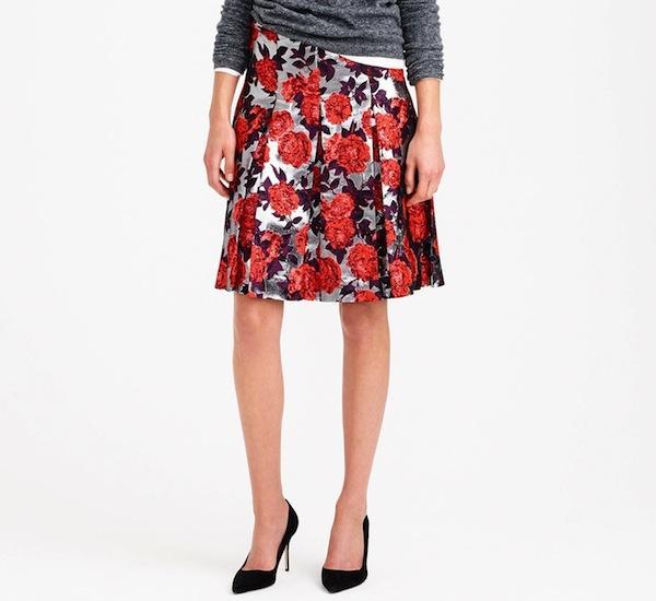 J.Crew Collection Metallic Floral Jacquard Skirt