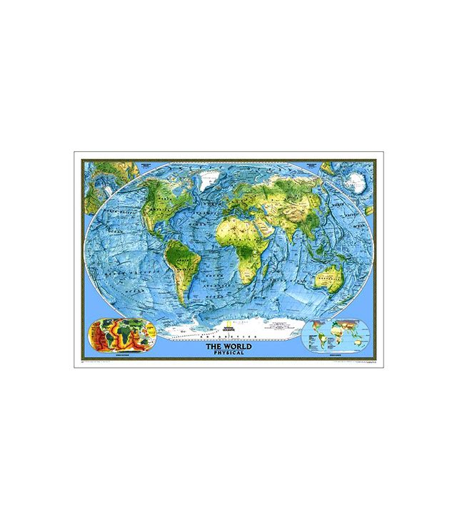 National Geographic World Physical and Ocean Floor Map