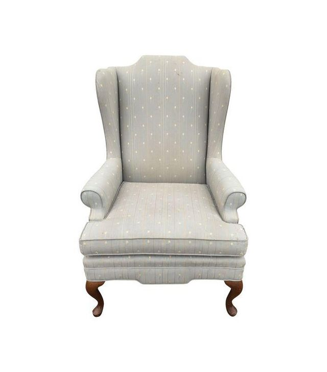 Vintage Upholstered Grey Wingback Armchair