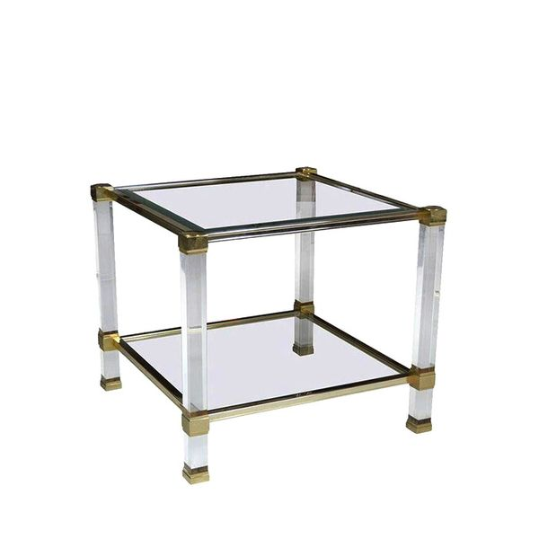 Chairish Signed Pierre Vandel Lucite & Brass Side Table