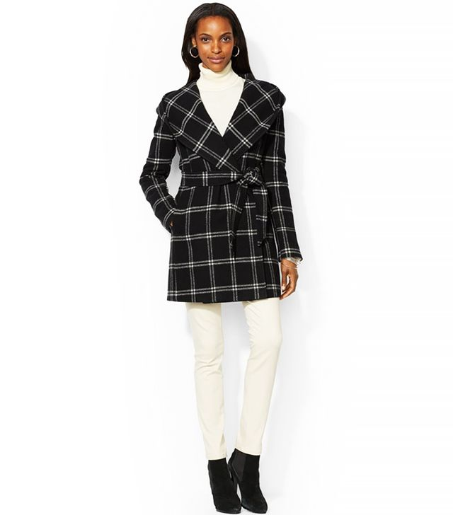 Lauren Ralph Lauren Hooded Belted Plaid Wrap Coat