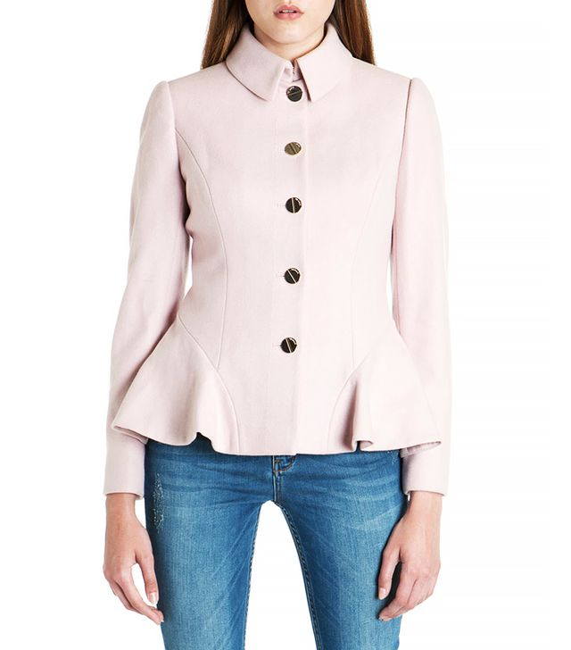 Ted Baker Wool Peplum Coat in Pale Pink