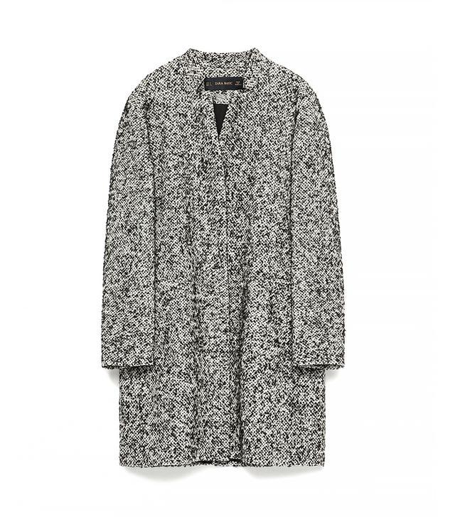 Zara Black Boucle Coat