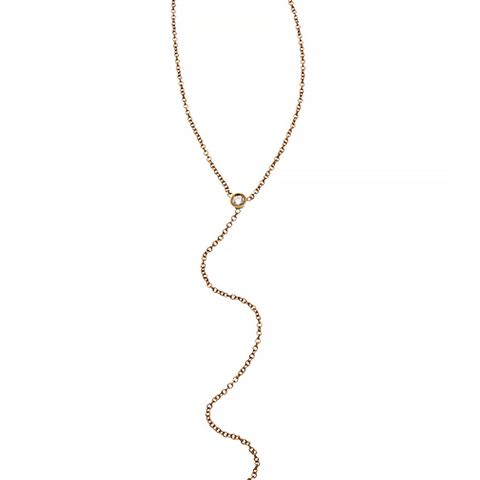 Diamond And Gold Lariat Necklace